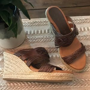 Lucky brand brown wedge sandals size 6